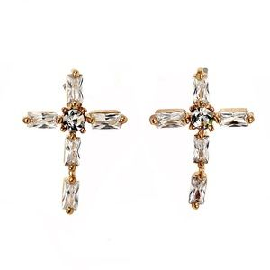 Mini cross crystal gold earrings